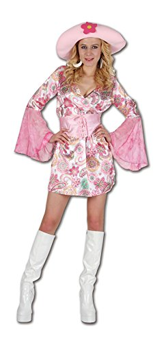 Islander Fashions Womens Sexy Pink Floral Print Chick Costume Ladies Flare Sleeve Groovy Hippy anni '60 Fancy Dress Outfit Taglia unica 40-46
