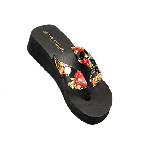Familizo scarpe donne elegante la moda Boemia floreale Beach sandali con zeppa delle cinghie della piattaforma Pantofole Infradito (size:37, Nero)
