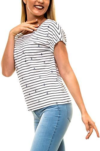 ONLY Damen T-Shirt Lace-Up Shirt Kurzarmshirt Print Shir (L, Cloud Dancer/Anchor)