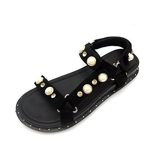 Sandalen Sommer Sandalen weiblichen dicken Ferse flachen Casual Fashion Pearl Studenten Schuhe schwarz stilvoll ( größe : EU37/UK4-4.5/CN37 ) (Pearl Ferse)