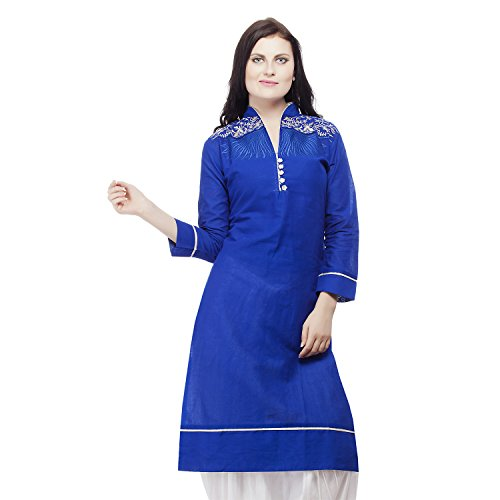 Pistaa Women's Cotton Casual Designer Royal Blue Embroidery long straight Kurti -...