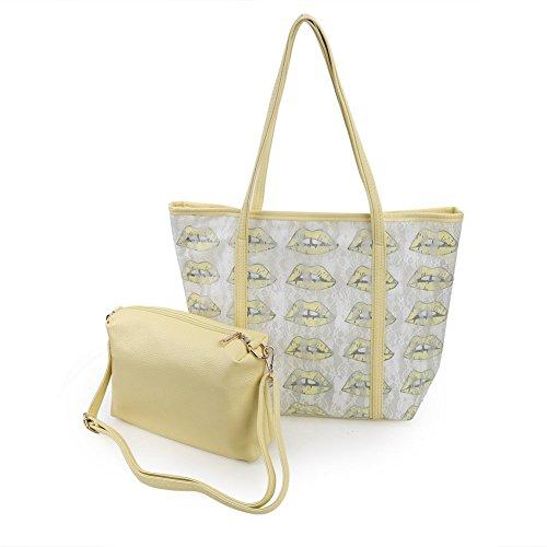 Zicac Mesdames dentelle sac de plage Couleur glace facile Sac fourre-tout bandoulière Sac principal assorti avec une petite Sac Jaune jaune jaune