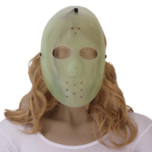 Maschera fluorescente hockey in plastica per travestimento horror