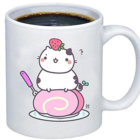 ZMvise Custom Art Chibi Cute Sushi Cat Strawberry Cake céramique blanche gfit tasse tasse noël parfait thanksgiving