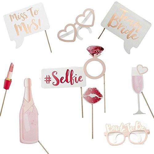 Junggesellinnenabschied oder Hochzeit - tolles 10 teiliges Set Photo Booth Accessoire Deko Zubehör