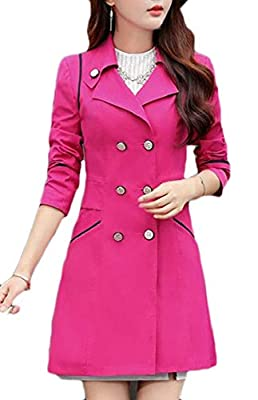 cfzsyyw Women's Notched Lapel Double-Breasted Trench Coat Outwear