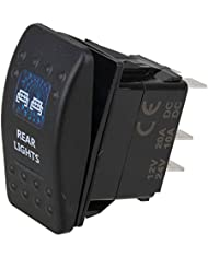 WEONE DC12-24V Coche Barco ARB a prueba de agua de luz trasera del eje de balancín del interruptor unipolar ON-OFF con luz LED azul