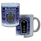Dienstgrad Tasse Bundespolizei mit wählbarem Namensfeld 95x110mm (Polizeimeisteranwärte/in #B1)