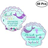 LUOEM 48PCS Mermaid Stickers Thank You Tag Gift Stickers Paper Tag Party Favor Sticker Labels for Birthday Wedding Baby Shower Party Supplies
