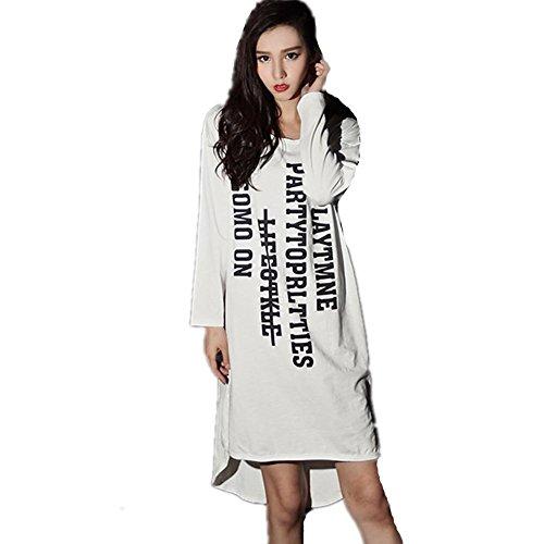 DMMSS Dame Baumwolle Lose Pyjama Lange Ärmel Schlafkleid Buchstaben Niedlich Hause Service Kleid , (Kostüme F Buchstabe)