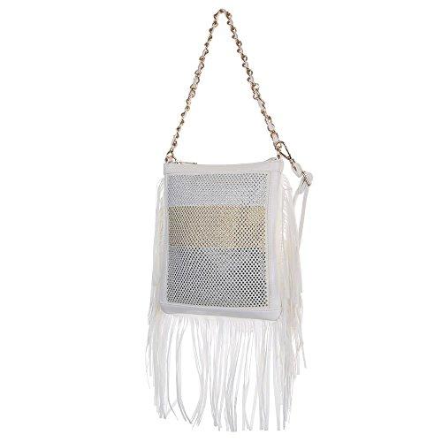 Damen Tasche, Kleine Fransen Umhängetasche Mit Strass, Kunstleder, TA-7060-178 Weiß