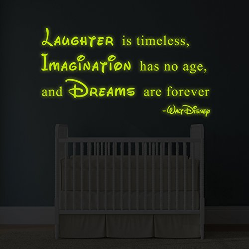 180x-97cm-lumineux-Autocollant-mural-en-vinyle-citation-de-Walt-DisneyGlow-fonc-dicton-rire-est-intemporel-lImagination-est-sans-age-Dreams-Are-Forever-autocollant