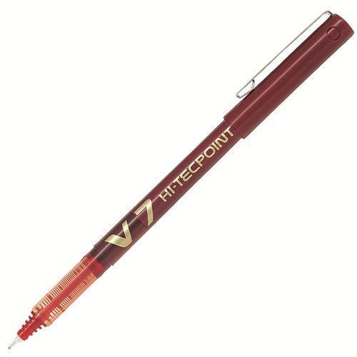 PILOT-Lotto di 6 penne roller Hi-Tecpoint V7, con inchiostro liquido, punta media, colore: rosso