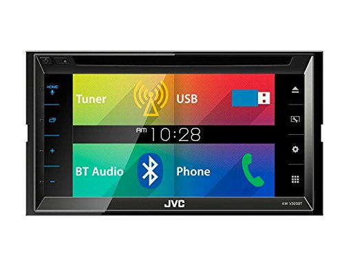 Auto Radio Multimedia 2 DIN DVD USB Multicolor Receiver JVC mit Bluetooth für VW Golf IV 1997-2003 incl Einbauset