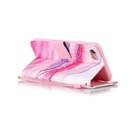Für iPhone 7 4.7 Zoll Lederhülle Schutzhülle,Für iPhone 7 4.7 Zoll Full Body Schutz Tasche Case,Funyye Stilvoll Mode [Bunt Muster] Flip Wallet Case Slim PU Leder Cover Tasche Handy Case Schutz Hüllen  Gestein