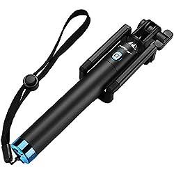 Mpow Perche Selfie Bluetooth, Selfie Stick Extensible de Poche/Bâton Selfie Réglable pour iPhoneX/8/7 Plus/6,Galaxy Series et Plupart Smartphone Android - Bleu [Garantie de 18 Mois]