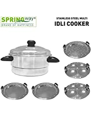 SPRINGWAY Stainless Steel Multi Idli Cooker with 5 Plates, Steel
