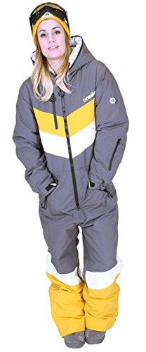 Oneskee Mark III Frauen Snowboard Overall grau gestreift W4