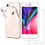 Funda + 2* Cristal Templado para iPhone 7/ iPhone 8,Ultra Fina Silicona Transparente TPU Carcasa iPhone 8/7, Protector de Pantalla Vidrio Templado 9H Dureza,Anti-Arañazos,Sin Burbujas para iPhone 7/8