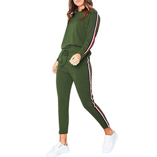 Kleidung T-Shirt Damen Sunday Trainingsanzug Sweatshirt Hose Sätze Sportkleidung Lässige Kleidung (M, Grün) (Mini-spandex-bra)