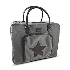 Weekender Damen mit Stern im coolen Vintage Style | Perfekt als Handgepäck oder Reisetasche am Wochenende | in olivgrün oder grau | 50x40x17 cm