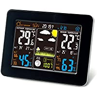 Estación meteorológica inalámbrica atómica con sensor de interior / exterior inalámbrico - TG645 Reloj de alarma a Color de estación meteorológica con alertas de temperatura de Think Gizmos.