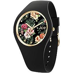 Ice-Watch - Ice Flower Colonial - Montre Noire pour Femme avec Bracelet en Silicone - 016671 (Medium)