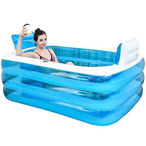 Vor Aufgeblasenen Luft (SUMER Aufblasbarer Pool, Badewanne Tragbare Faltbare Badewanne Badewanne zum Einweichen Home SPA-Bad Ausgestattet mit elektrischer Luftpumpe, 160x120x60cm)