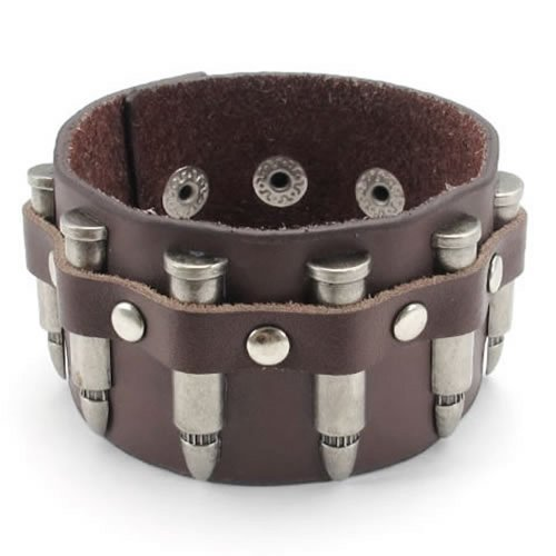 Pulsera KONOV, casquillo de bala de ancho brazalete de cuero, piel, pulsador, color plateado