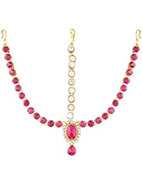 I Jewels Traditional Gold Plated Stone Mathapatti Maang Tikka For Women T1076Q (Pink/Rani)