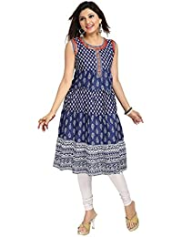 The Style Story Blue Anarkali Style Kurti (Sleeves Attached Inside)