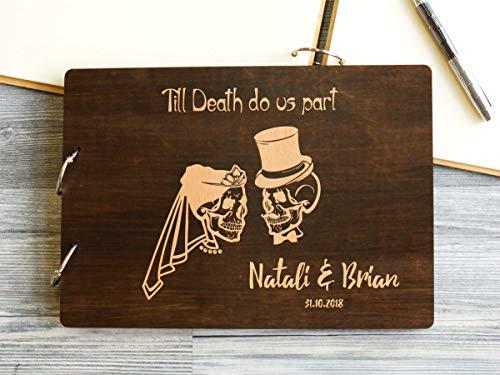 dding Guestbook Autumn Wedding Till Death Do Us Part Unique Guest Book Sugar Skull Engraved Custom Guestbook Dia De Los Muertos ()