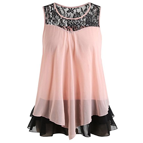 Kobay Women Tank Tops, Ladies' Fashion Lace Ruffles O-Neck Sleeveless Chiffon T-Shirt Tops Blouse Vest