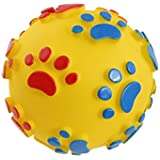 Foodie Puppies - Squeak Vinyl Dog Toy Ball With Colorful Paw Pattern Assorted Color Large (Color May Vary)