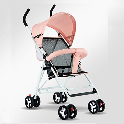 Regenschirm Kinderwagen Kann Sitzen Liegend Ultra Leichte Tragbare Falten Bb Baby Kind Vier Rad Kinder Auto Pink