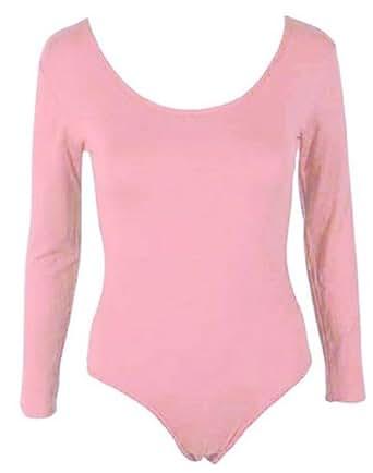 Hot Hanger Womens PLUS SIZE Long Sleeve Bodysuit Leotard Body Top UK 16-28 (16-18 LXL, Baby Pink)