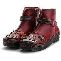 Bottes en Cuir pour Femmes Flower Flat Vintage Chaussures à glissière  (coloré   Rouge, d86a8ded52da