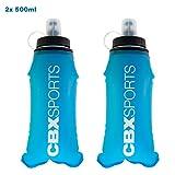 CBX Sports 2X Trinkflasche 500 ml Blau Faltbare und auslaufsichere Wasserflasche | Laufausrüstung für Joggen, Trailrunning, Trekking, Marathon und mehr | Super leicht, kompakt und handsicher