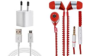 JIYANSHI Combo of 2A Wall Chager/Portable Charger/Mobile Charger & Wired In-ear Headphone/Earphone Zipper (Red) Compatible for Compatible for LG Google Nexus 5X