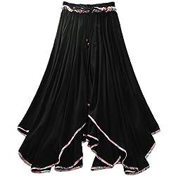 Feoya Mujeres Falda Larga Plisada de Verano Maxi Skirt de 2 Capas Étnico para Danza Playa Fiesta, Negro