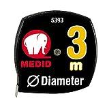 Medid MD/5393 Flexómetro medidor de diámetros extraplano, ABS y Aluminio, 3 m x 7 mm