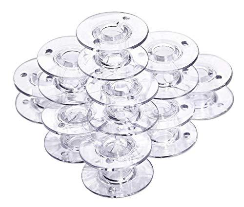Nähwelt Flach Universal CB Spulen (10 Stück transparent /11,5 mm hoch) für Elna, Janome, Brother, W6, Singer, Carina, Veritas
