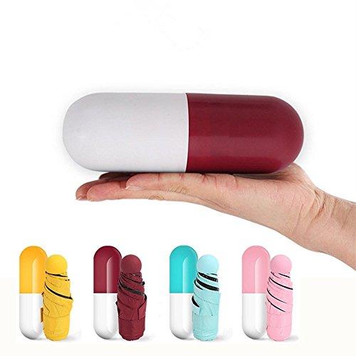 icase4u® Original Paraguas Sombrilla Portátil en Forma de Mini cápsulas Anti-UV (Rojo)