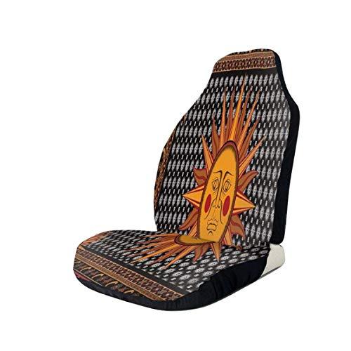 Coprisedili per auto Coprisedili anteriori Hippie Sun Star Moon vintage giallo Coprisedili per sedili avvolgenti 100% poliestere Decorazioni per auto Protezione per sedili automobilistici ultra durevo