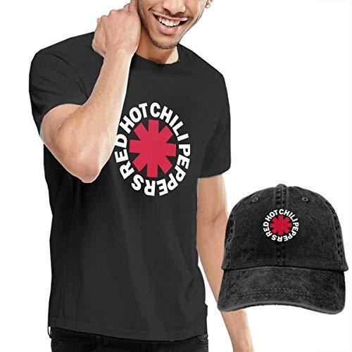 Kalinanai T-Shirts, T-Stücke, Chili Peppers Red Hot Men's Classic T-Shirt mit Washed Denim Baseball Hat Schwarz