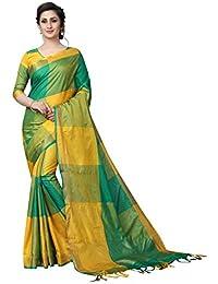 PERFECTBLUE Women's Cotton Silk Saree with Blouse Piece (ClassciVatiation2, Gold, Free Size)