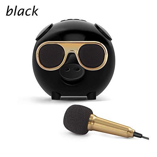 JASZW Karaoke mikrofon, drahtlose Bluetooth Lautsprecher Schwein Mini niedlich smart Karaoke Audio Device mikrofon lautsprecherbox subwoofer staubdicht,Schwarz -