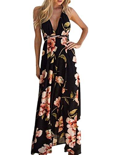 Sommerkleid Beach Kleid Damen Boho Lange Kleid Partykleid Elegant Kleid Cocktailkleid Maxi Kleid Abendkleid V Hals Strand Dress Sommerkleid LMMVP (Schwarz, M) (Split V-hals-tunika)