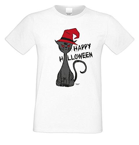 Herren-Halloween-Kostüm-Motiv-T-Shirt auch in Übergrößen 3XL 4XL 5XL Halloween Katze cooles Party Outfit Farbe: weiss Weiß