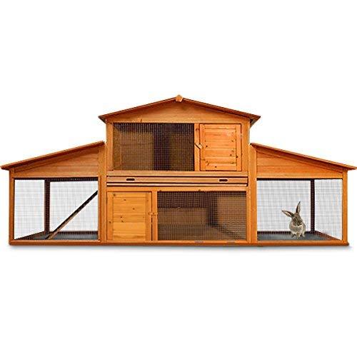 Cadoca Hasenstall Kaninchenstall Hasenkäfig Meerschwein Käfig Freilauf Holz Stall I 2 Seitentüren I 2 Fronttüren I ausziehbare Schublade - Großer Kaninchenstall